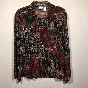 Chico's SILK Tribal Button Long Sleeve Blouse XL